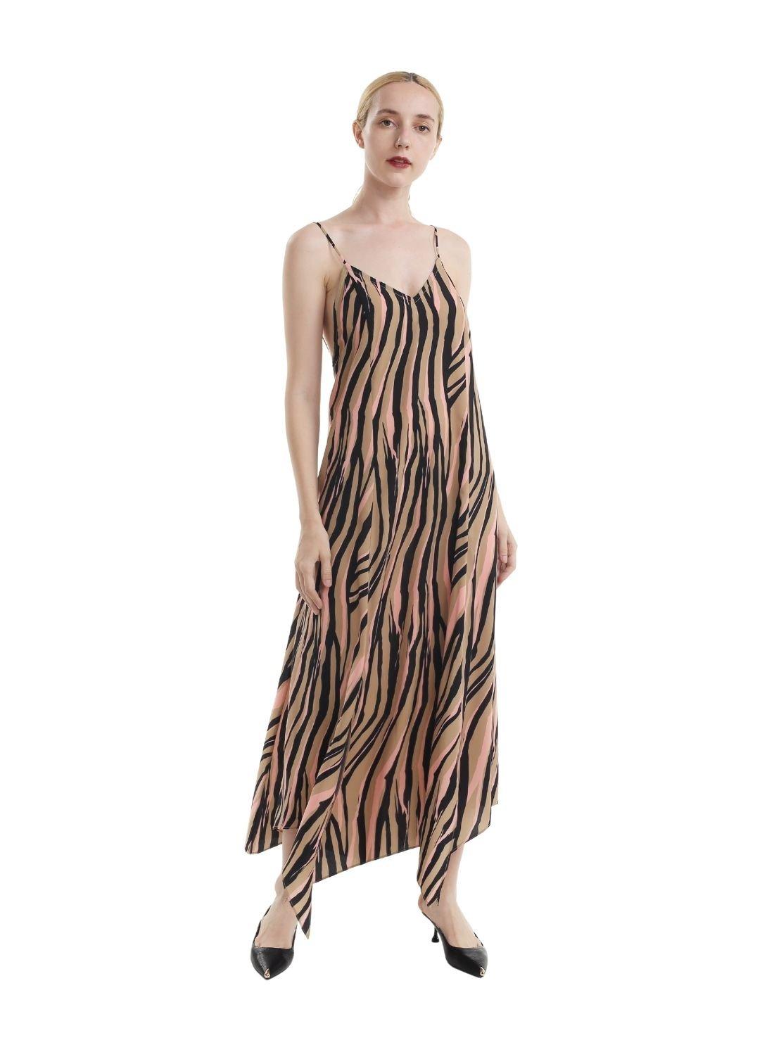 A-Line All Over Print Slip Maxi Dress