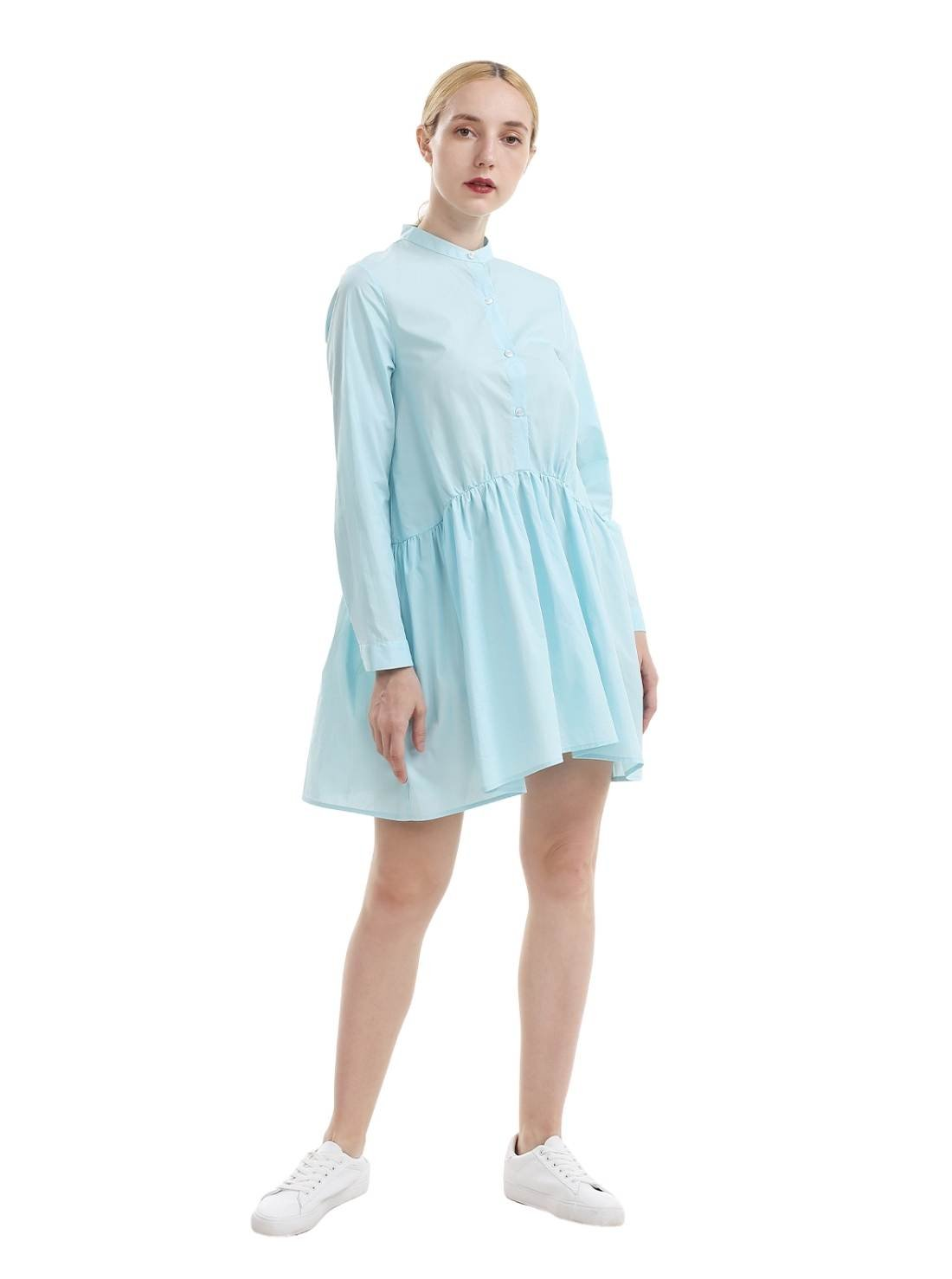 Chinese collar A-Line Cotton Blouse Dress in big bottom