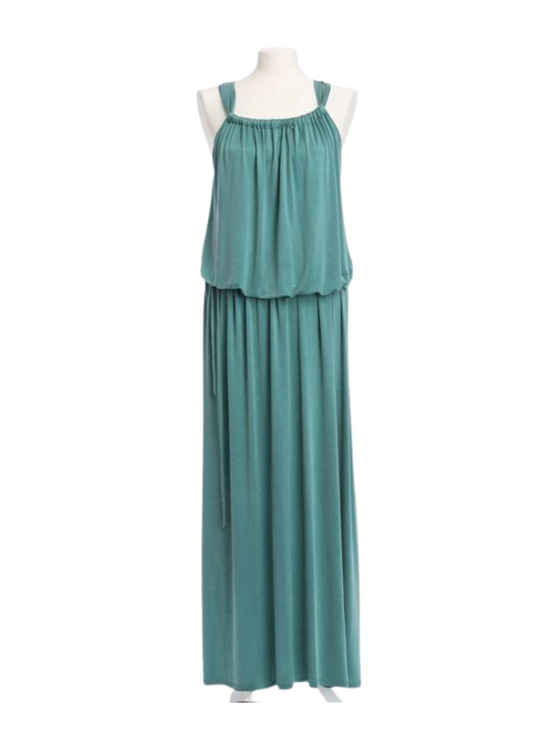 Jersey Cupro Maxi Dress with Waist Belt