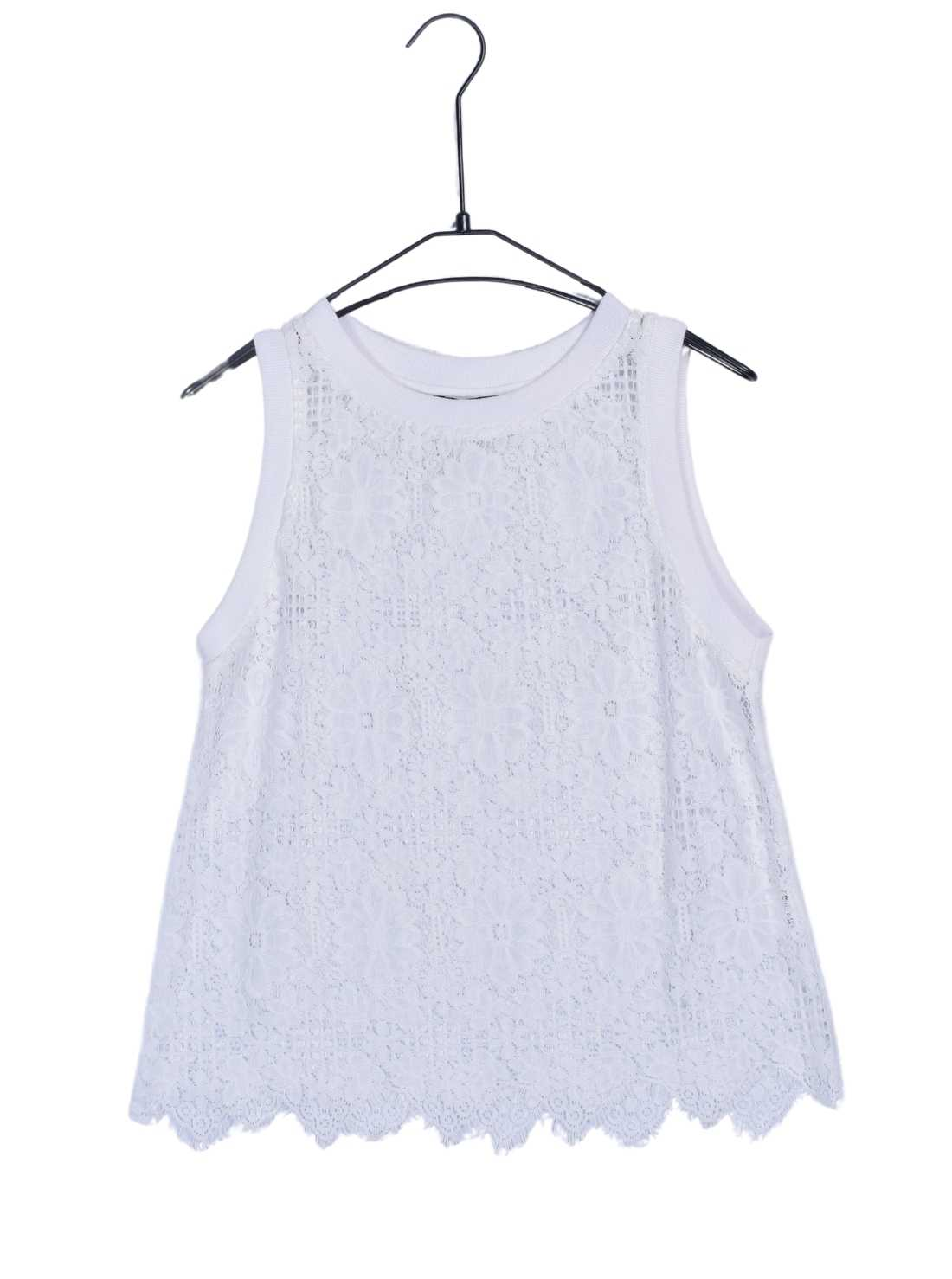 Lace Tank Top with Cotton Rib at Neck and Armhole