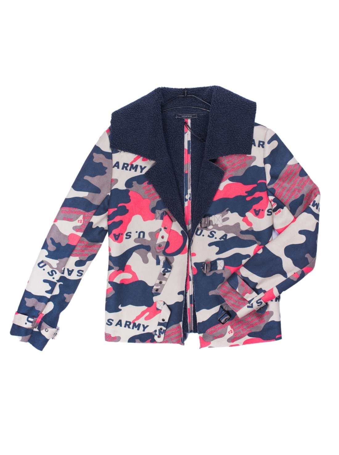 Ladies All Over Print Suede Fabric Jacket