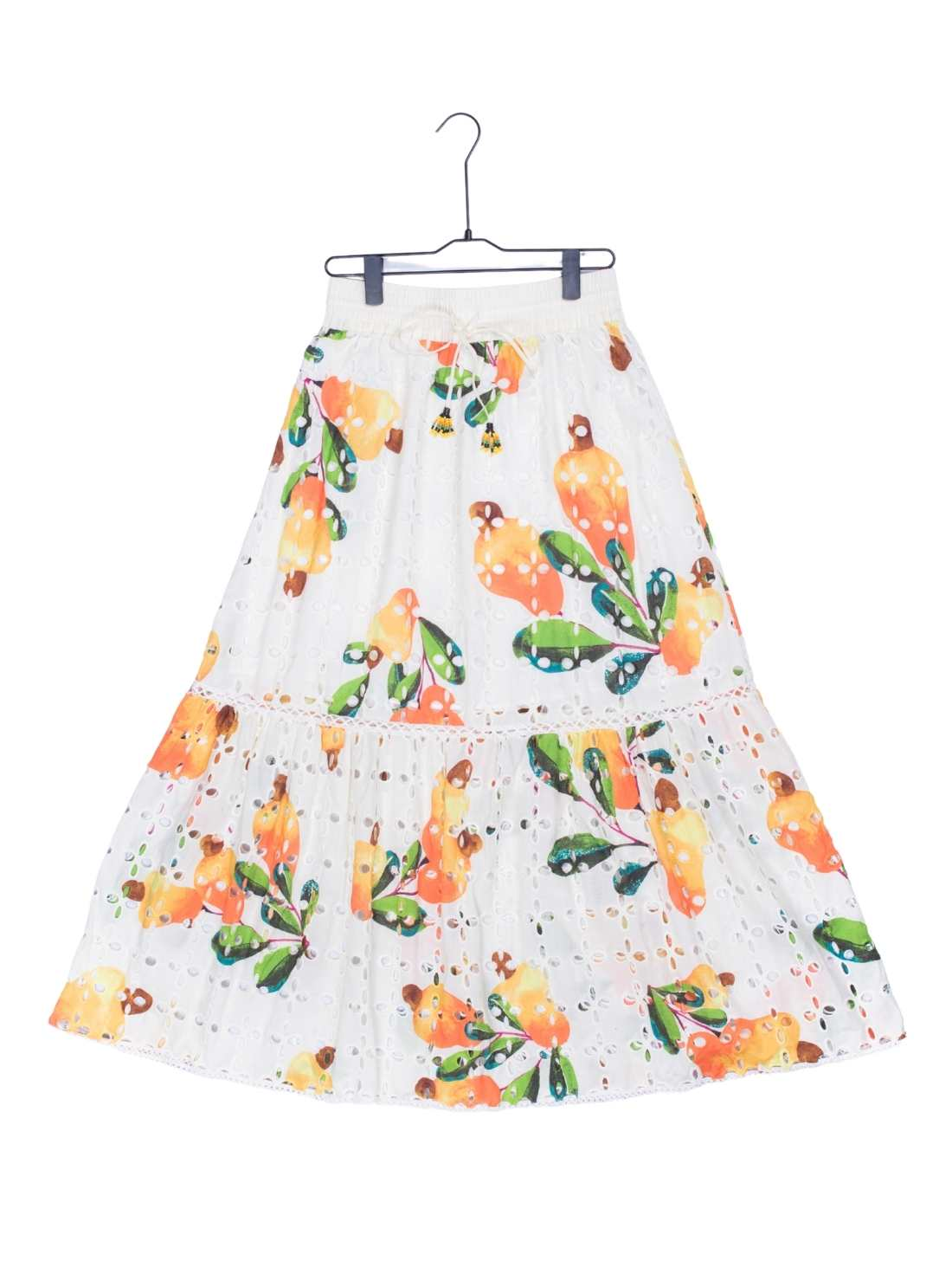 Ladies Cotton Embroidery and Print Skirt