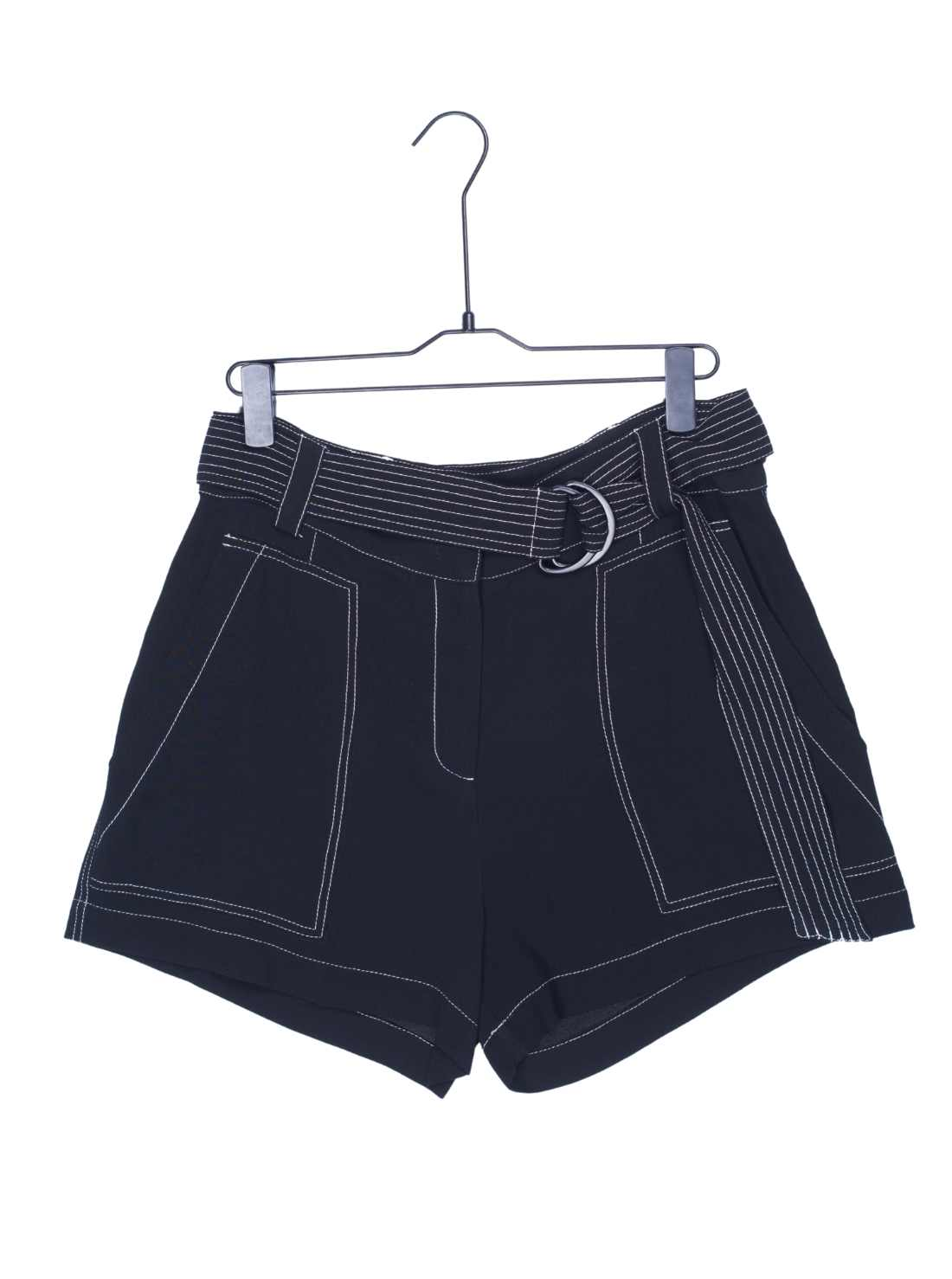 Ladies Heavy Viscose Crepe Shorts with White Thick Thread Workmanship