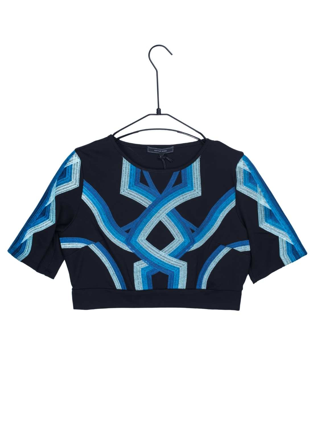 Ladies Ponti Roma Embroidery Short Sleeves Top