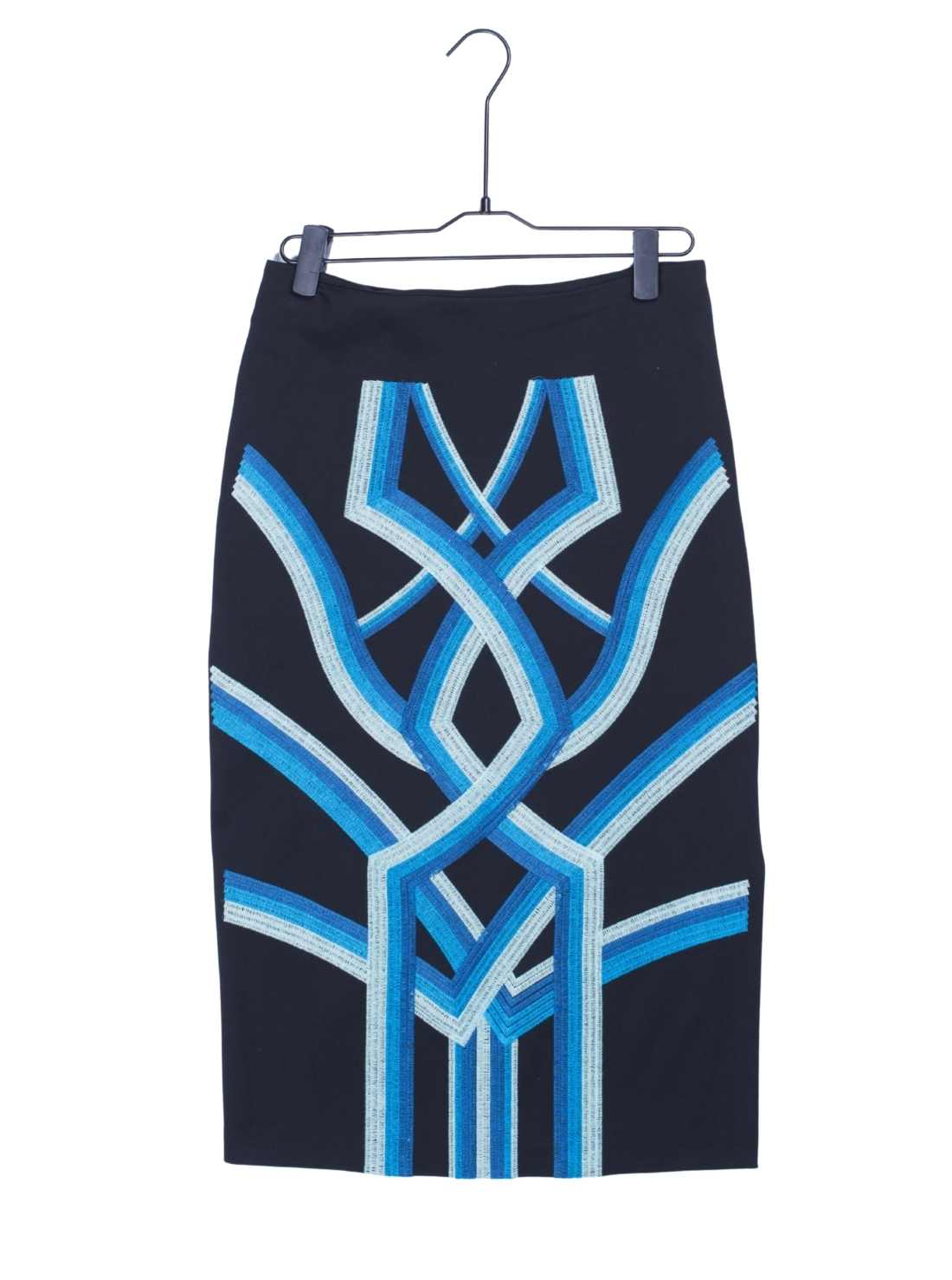 Ladies Ponti Roma Front Embroidery Skirt