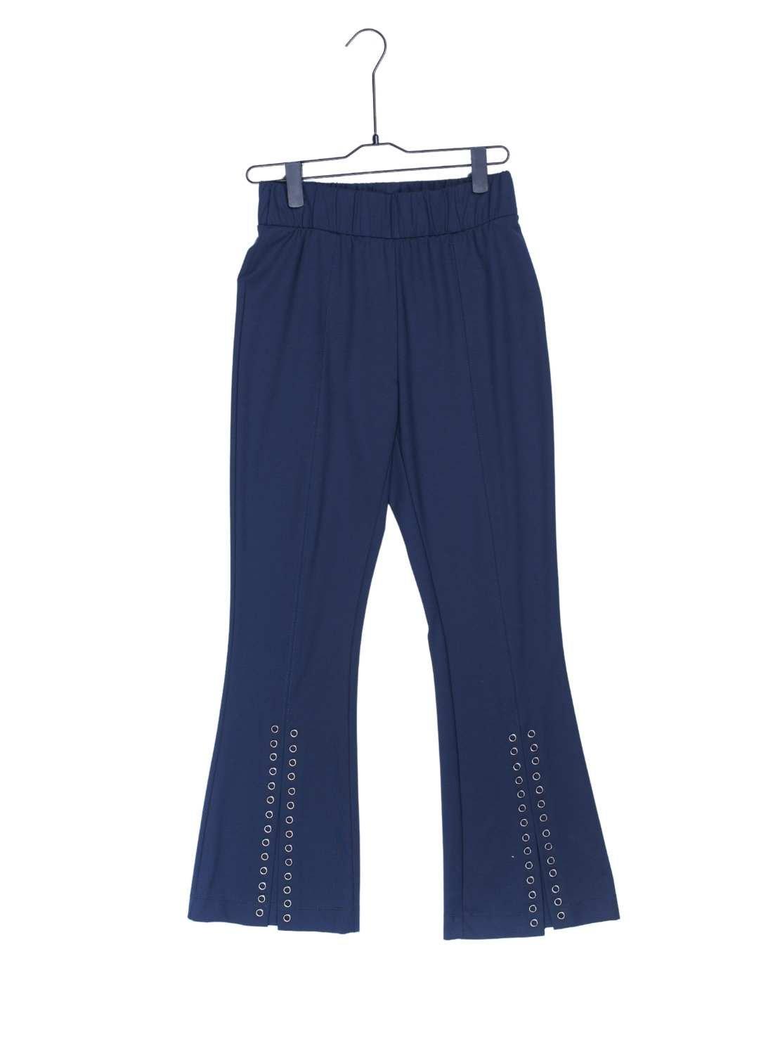 Ladies Ponti Roma Slub Pants Bottom with Eyelet Slits