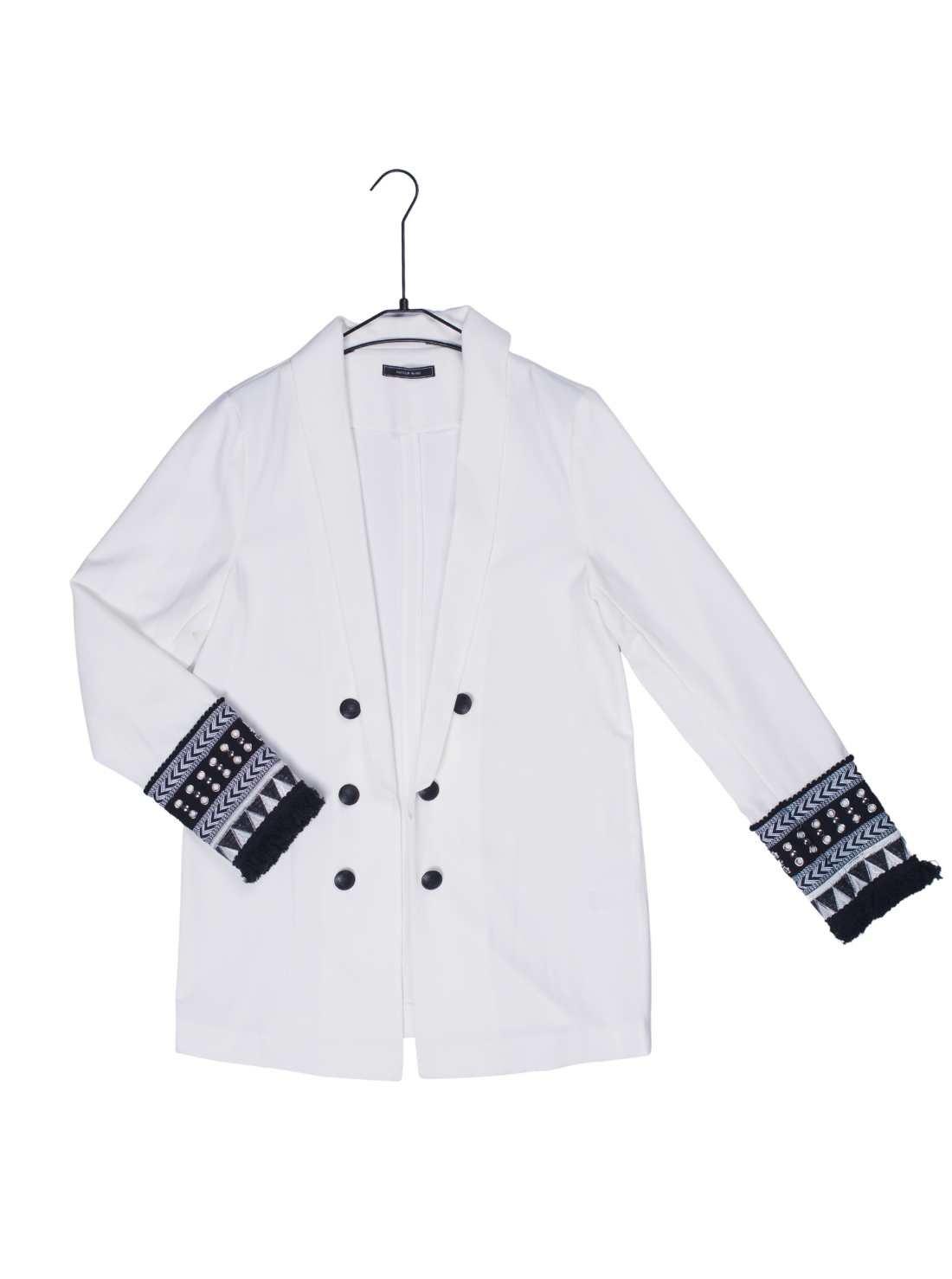 Ladies White Suit Blazer with Special Trim at Cuffs