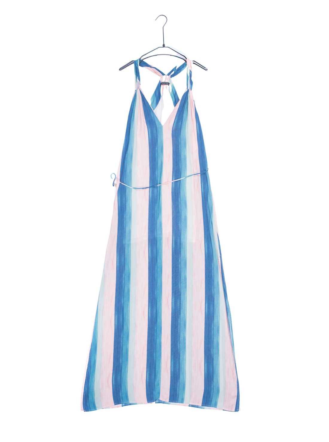 Light Viscose Stripe Print A-Line Beachwear Dress