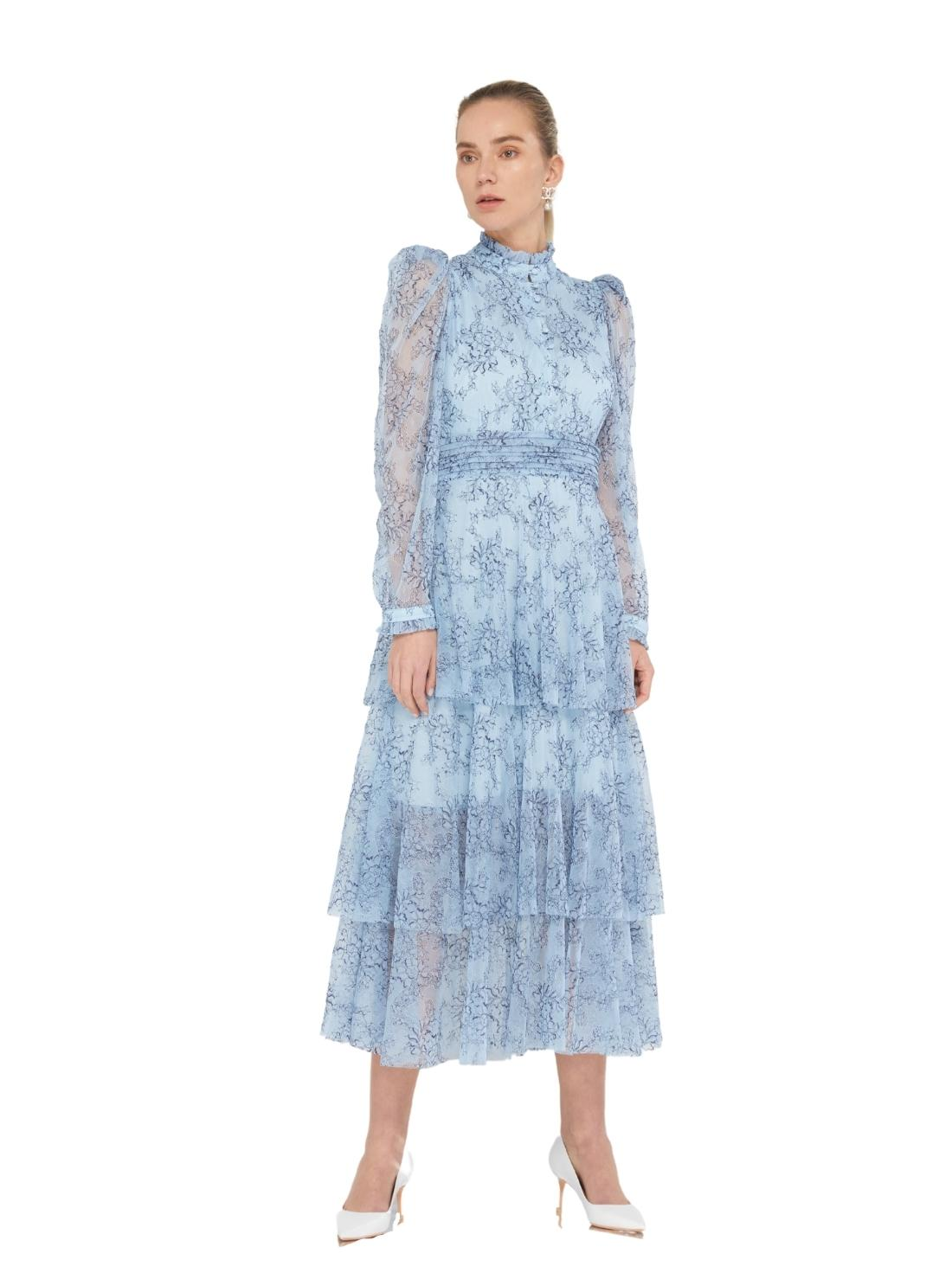Long Sleeves A-Line Lace Dress with Three layers bottom