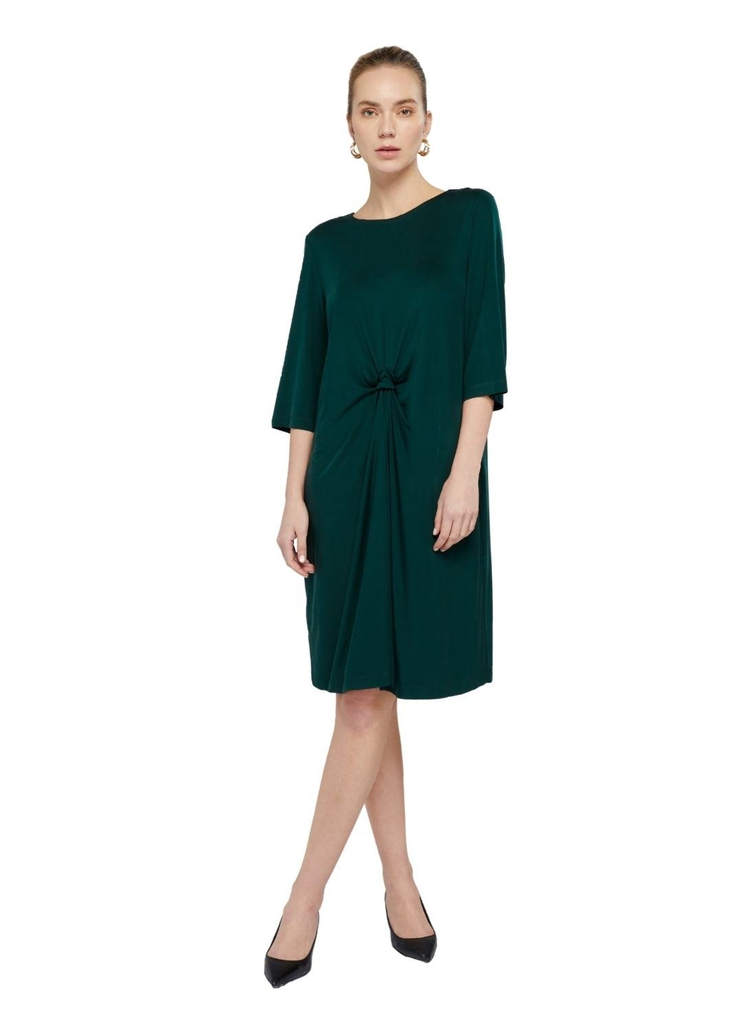 Middle length Sleeves H-Line Jersey Cupro Dress Front with a Hand-making Bow