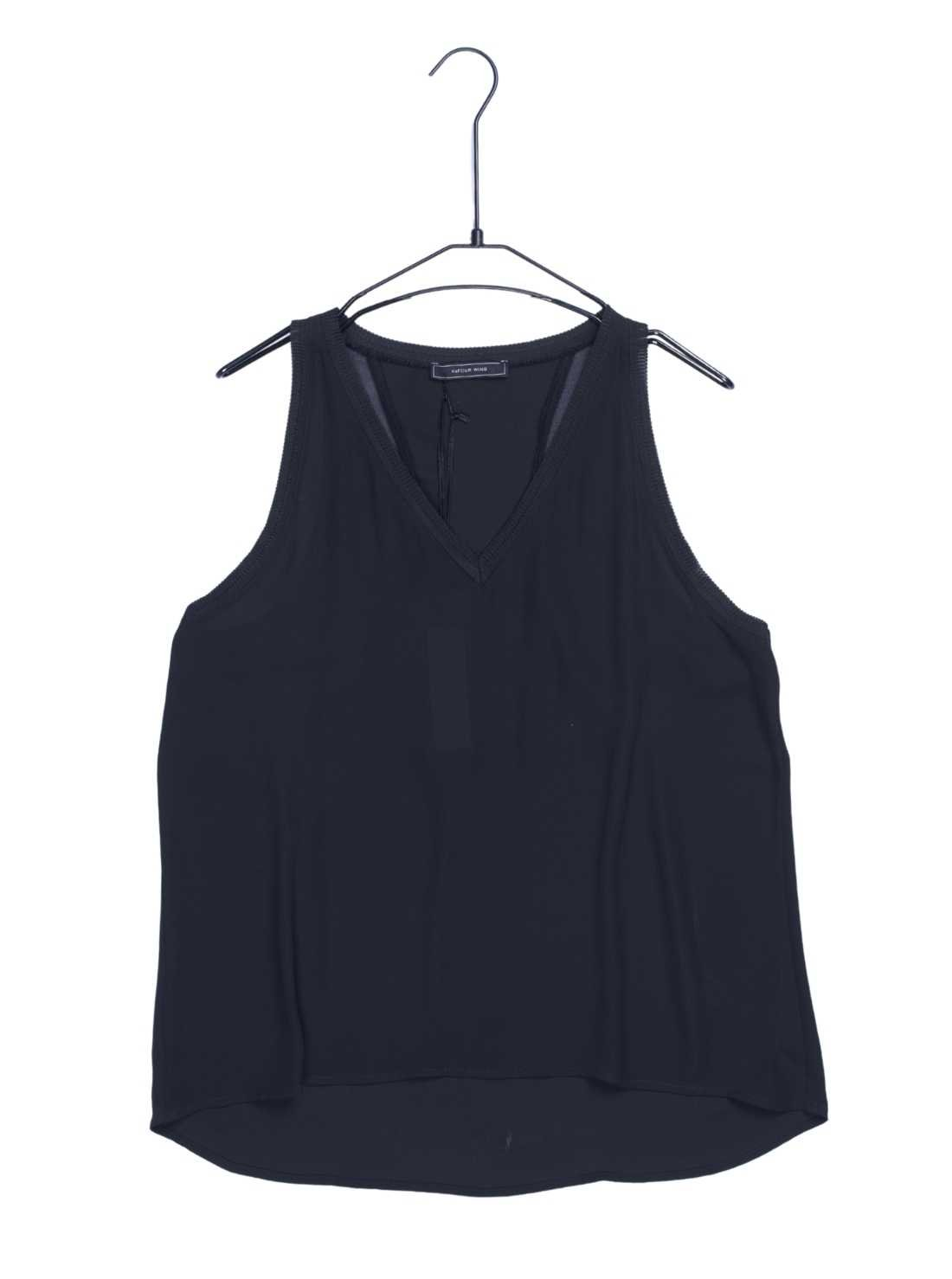 Polyester Crepe Tank Top with Viscose Rib at Neckline and Armhole