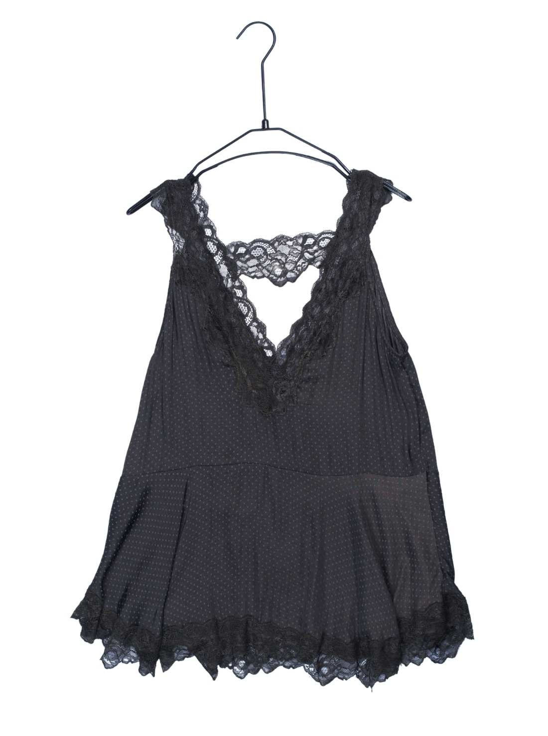 Polyester Silky Jaquard Tank Top with Lace Trime at Neck and Bottom