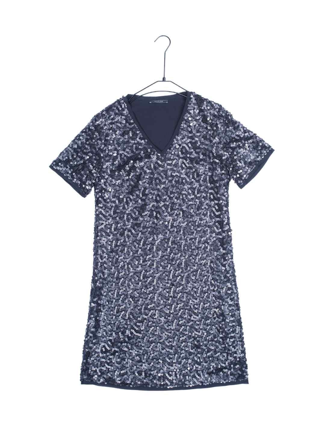 Short Sleeves H-Line Pu Sequins Dress