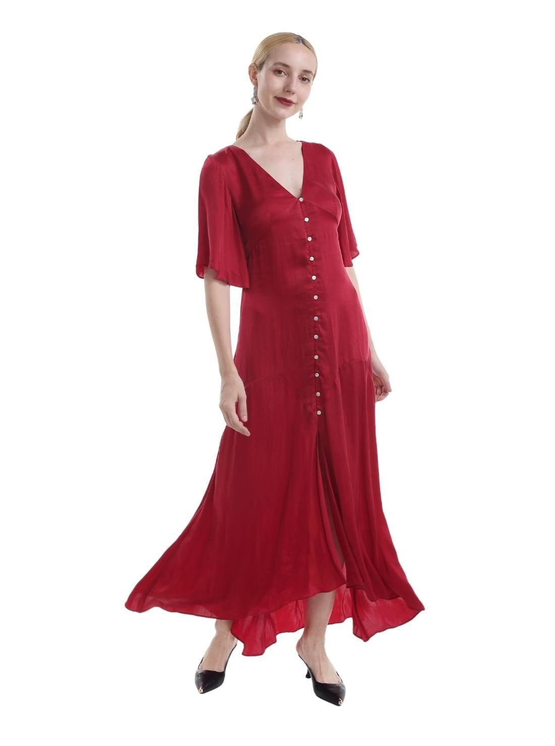Short Sleeves V-Neck A-Line Woven Cupro Maxi Dress