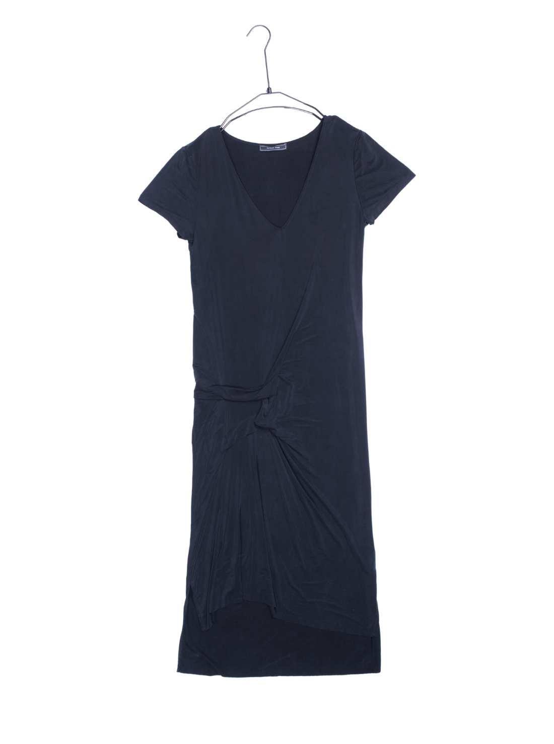 Short Sleeves V-Neck Cupro Jersey Dress