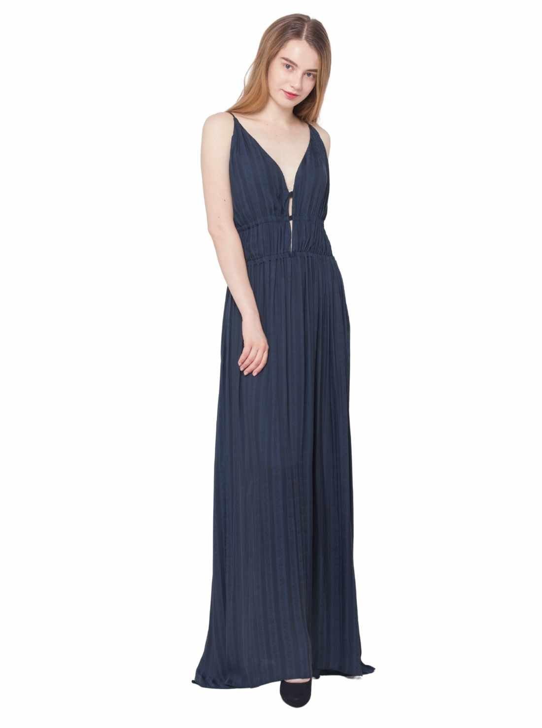 Sleeveless A-Line Silky Jaquard Fabric Maxi Dress