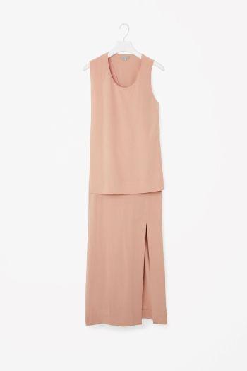 Sleeveless H-Line Silk Jersey Dress High Slit at Front