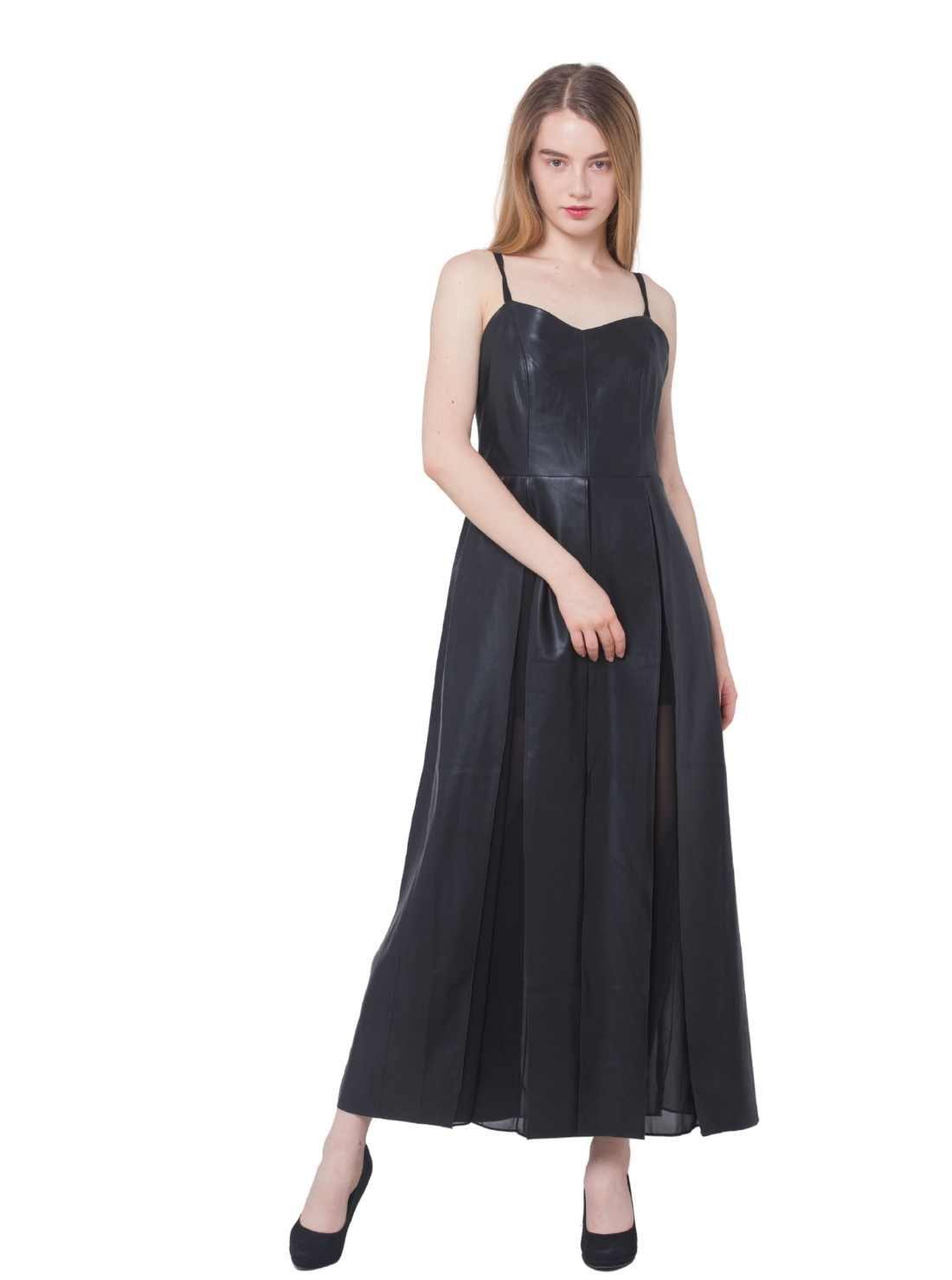 Slip A-Line PU Mix Chiffon Maxi Dress