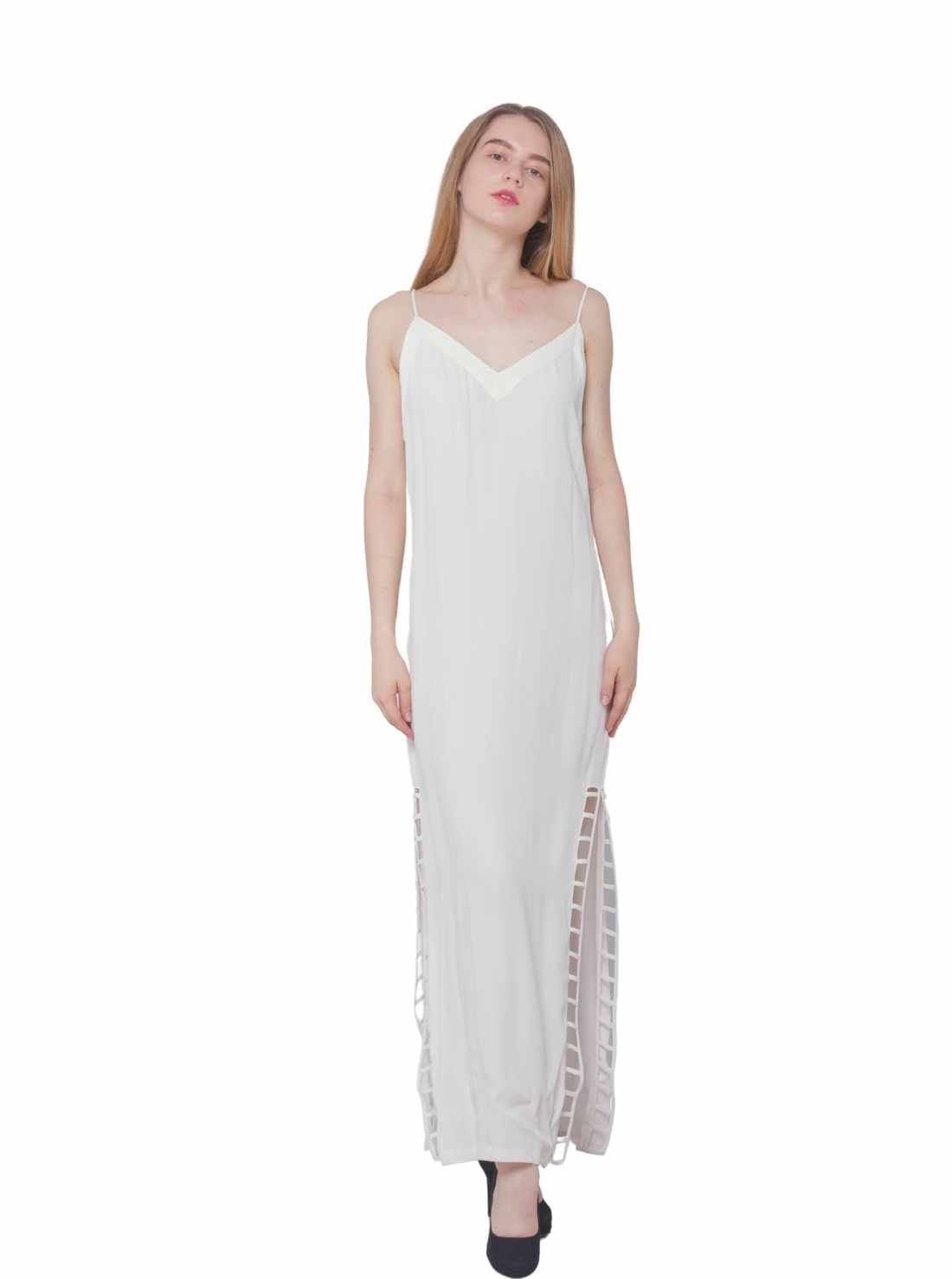 Slip A-Line White Maxi Dress with Slits at Both Sides