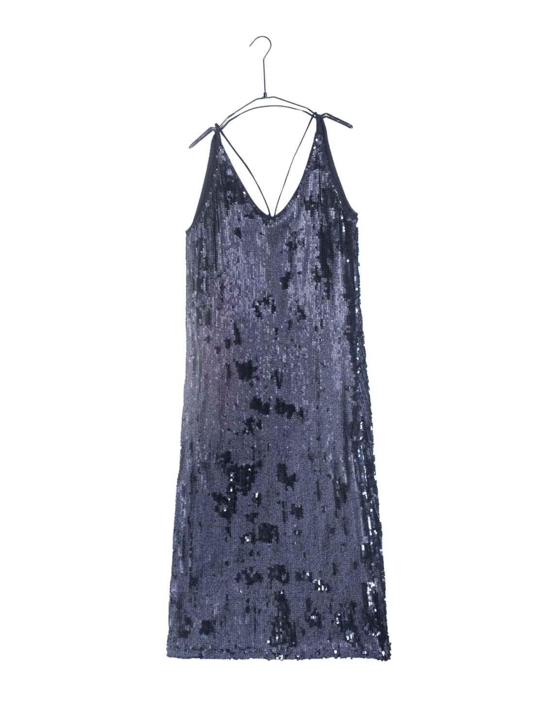 Slip H-Line Double Face Sequins Dress