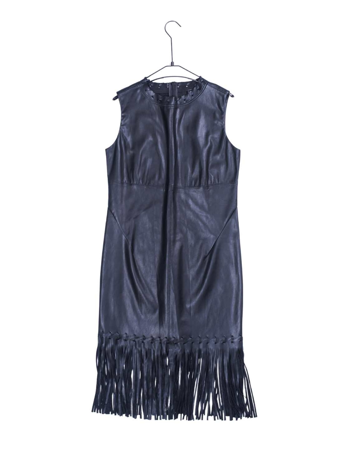 Solf PU H-Line Party Dress with Fringe Bottom