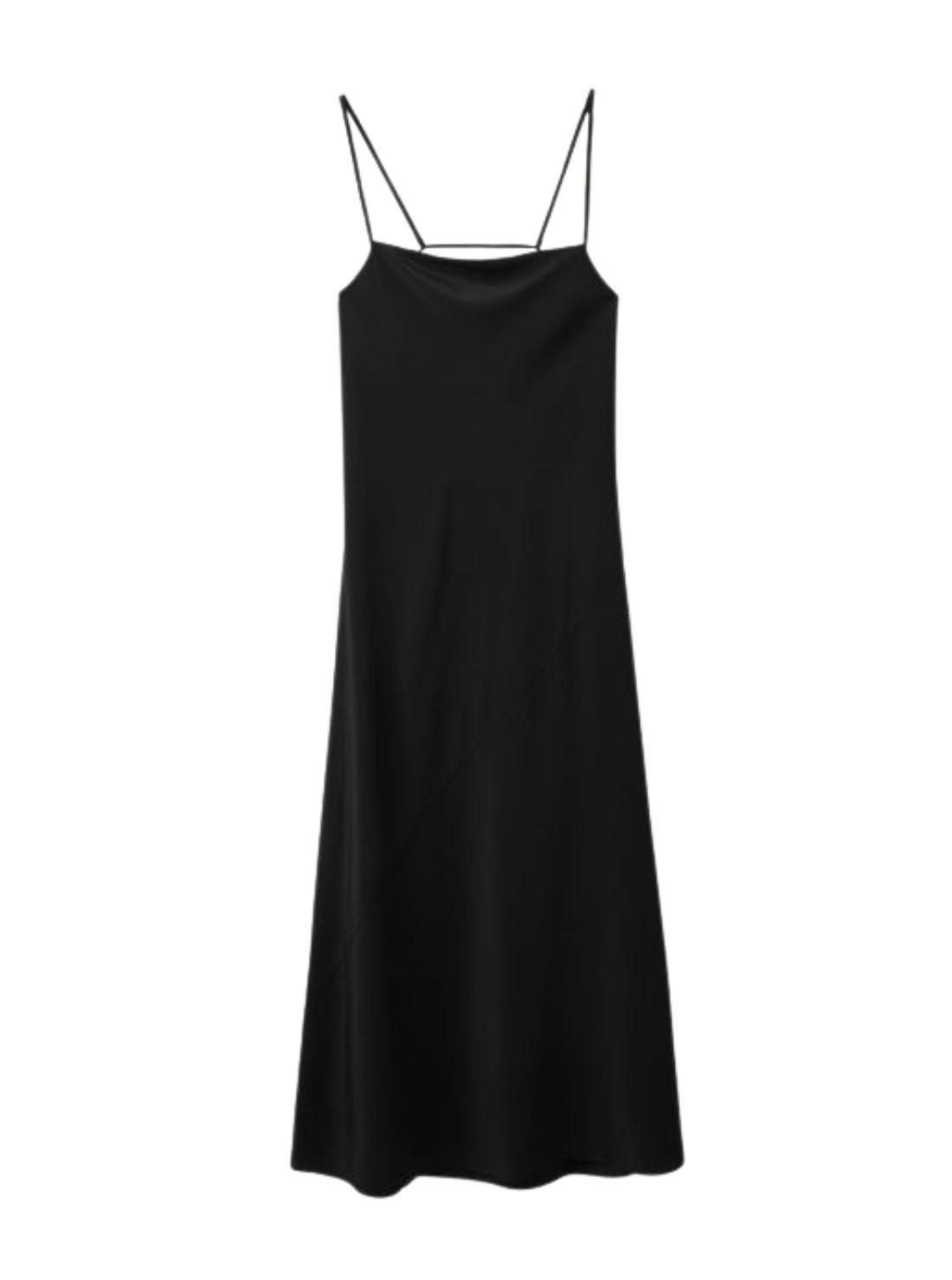 Strip 16MM Silk Satin Dress