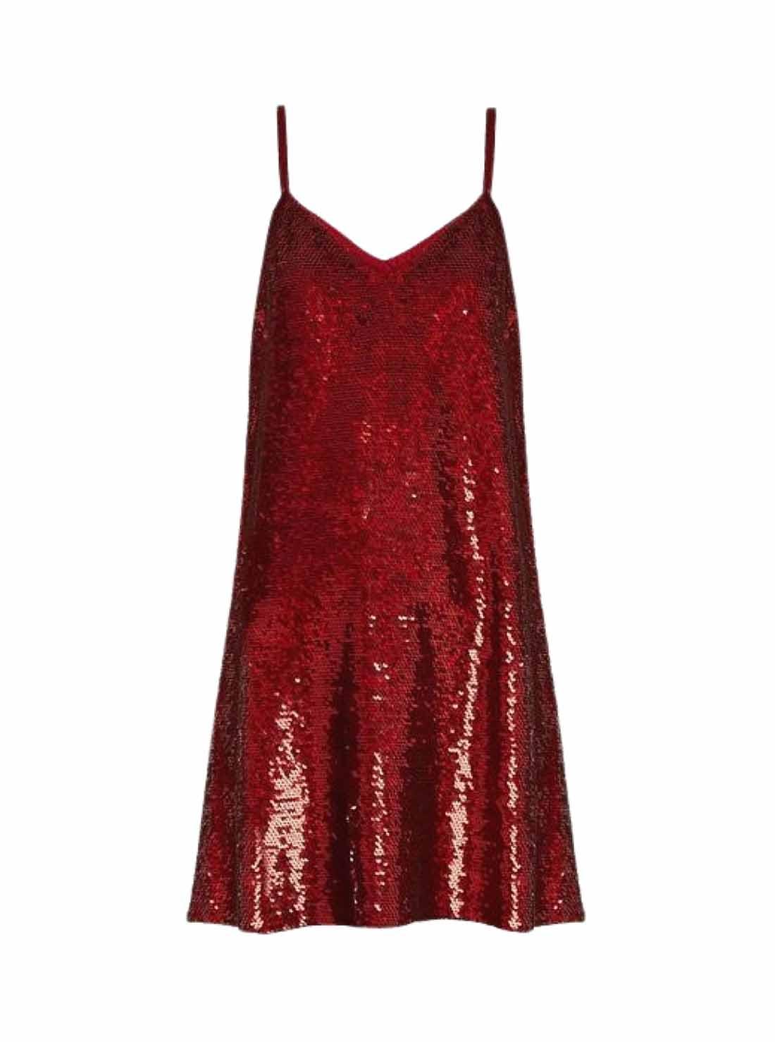 Strip A-Line Red Sequins Dress