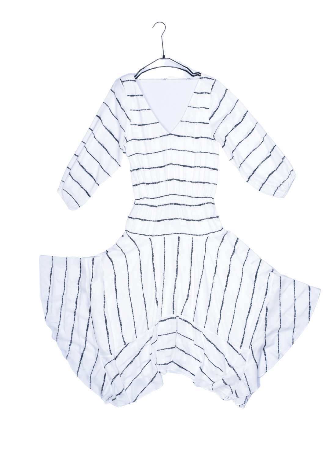 Viscose Stripe Print Middle Sleeves Beachwear Dress