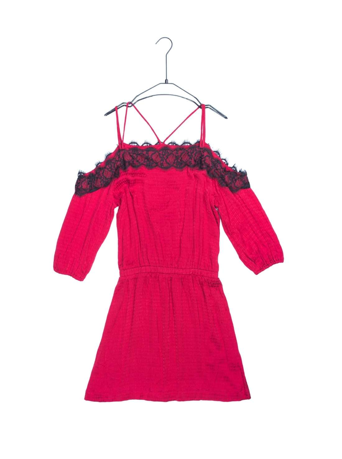 Woven Jaquard Cupro Dress with Lace Trim at Neckline