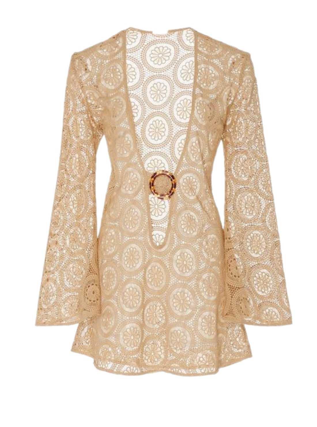 long Sleeves Cotton Crochet Lace Beachwear Dress