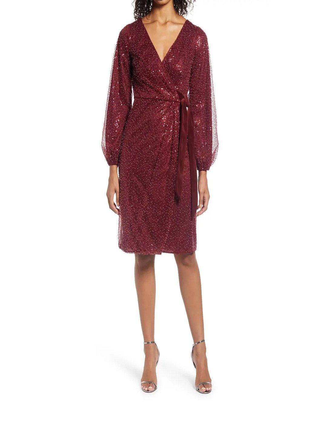 Beaded Long Sleeve Faux Wrap Dress