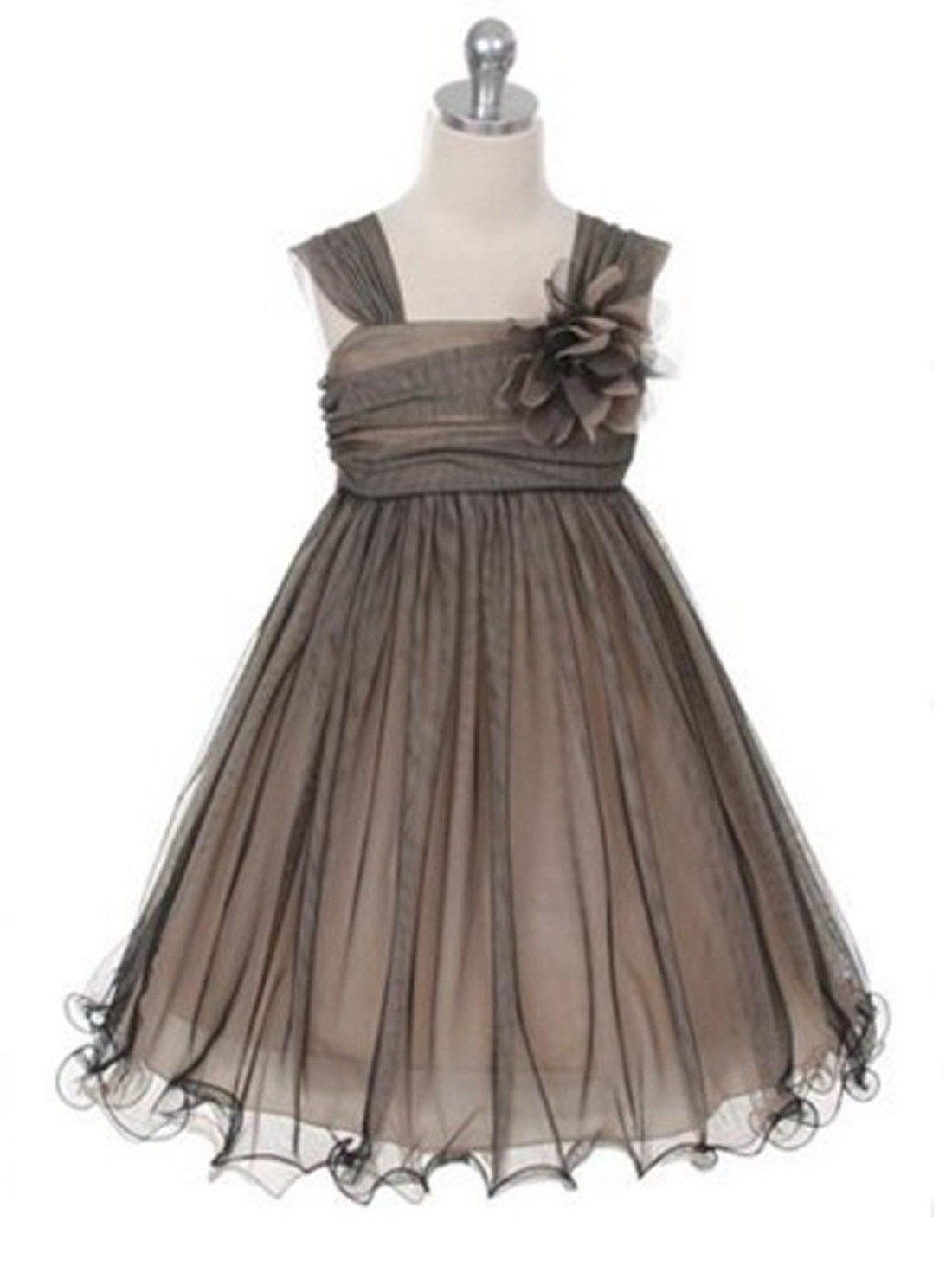 Flower Girl Dress Compelling Mesh and Taffeta Overlay DressBlack & Champ Party Dress Special Occasion Dress