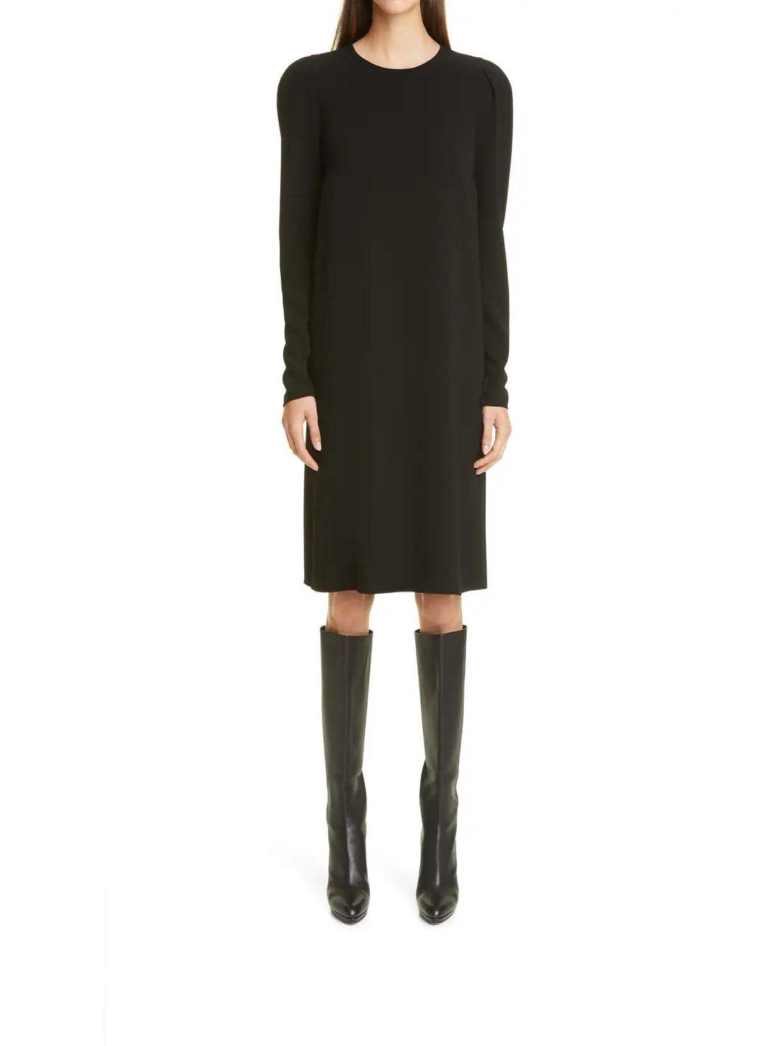 Long Sleeve Finesse Crepe Shift Dress