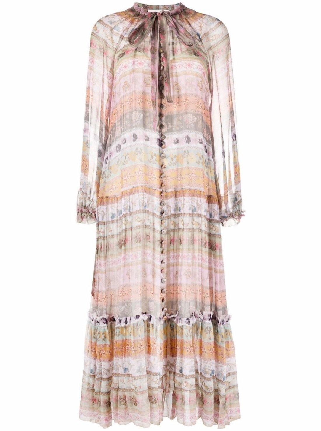 Luminous Ribbon Swing silk dress