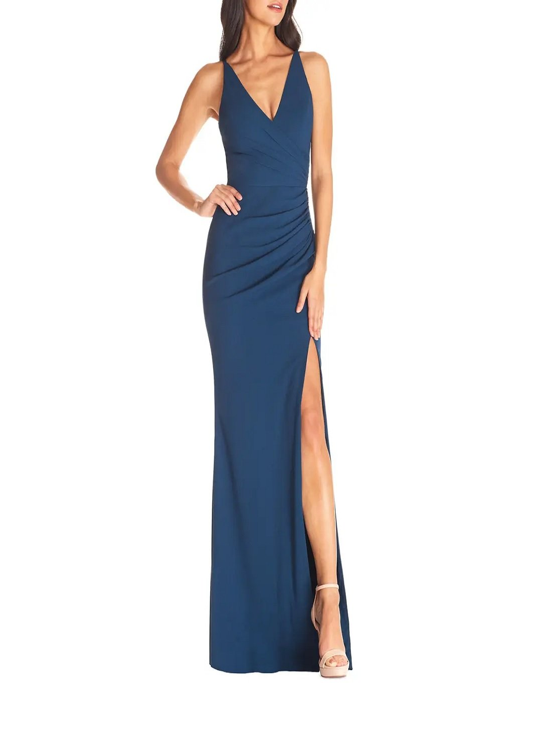 Ruched Side Slit Gown