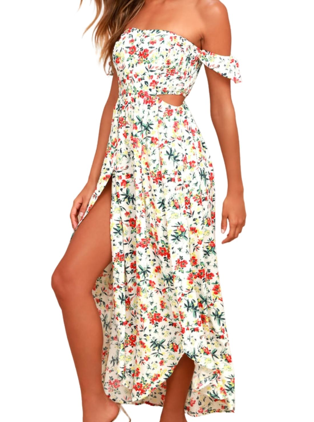 Floral Off-the-Shoulder Summer Maxi Dress