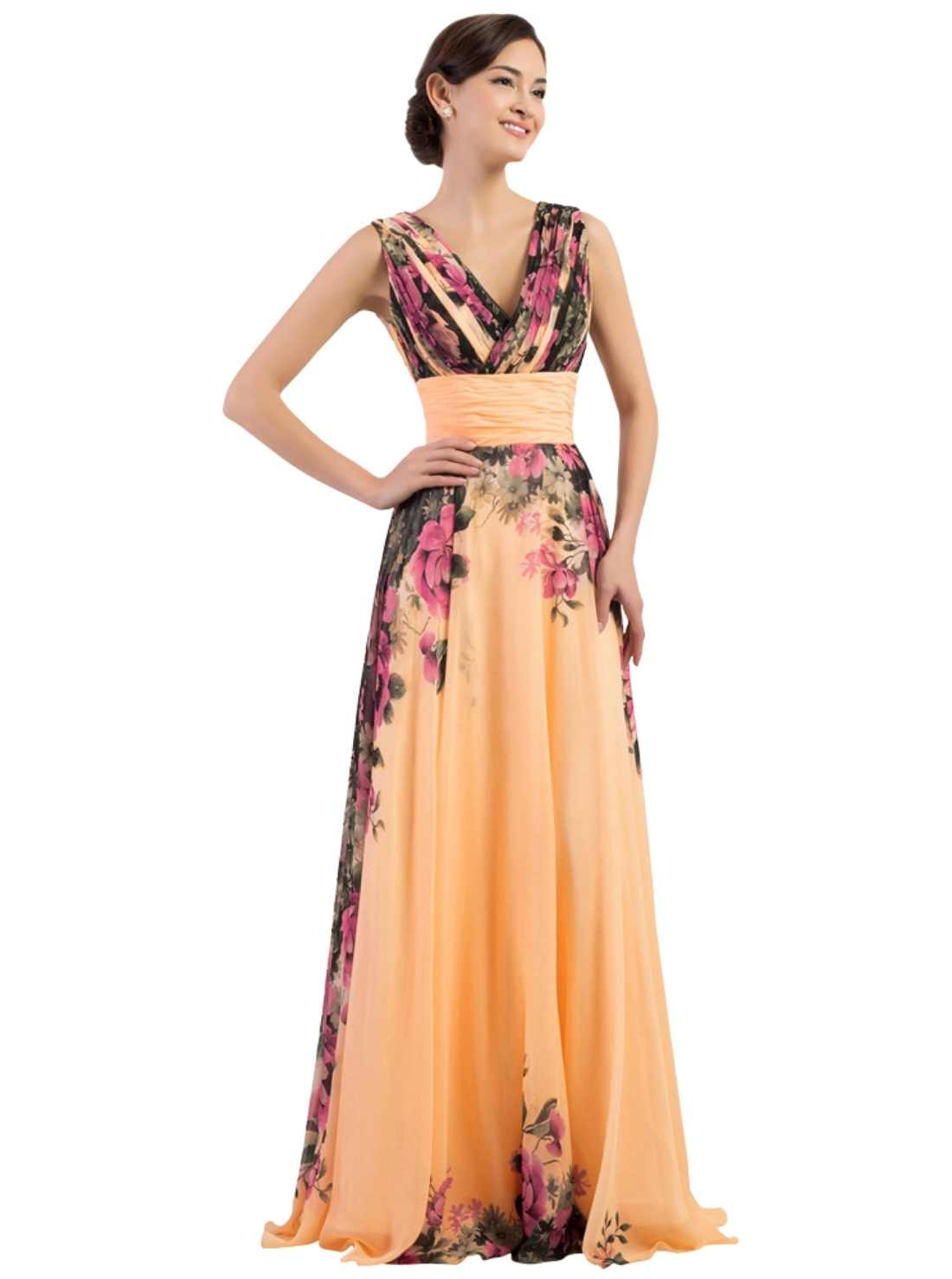 Sleeveless Flower Pattern Floral Print Chiffon Evening Dress Party Gown Long Prom Dresses