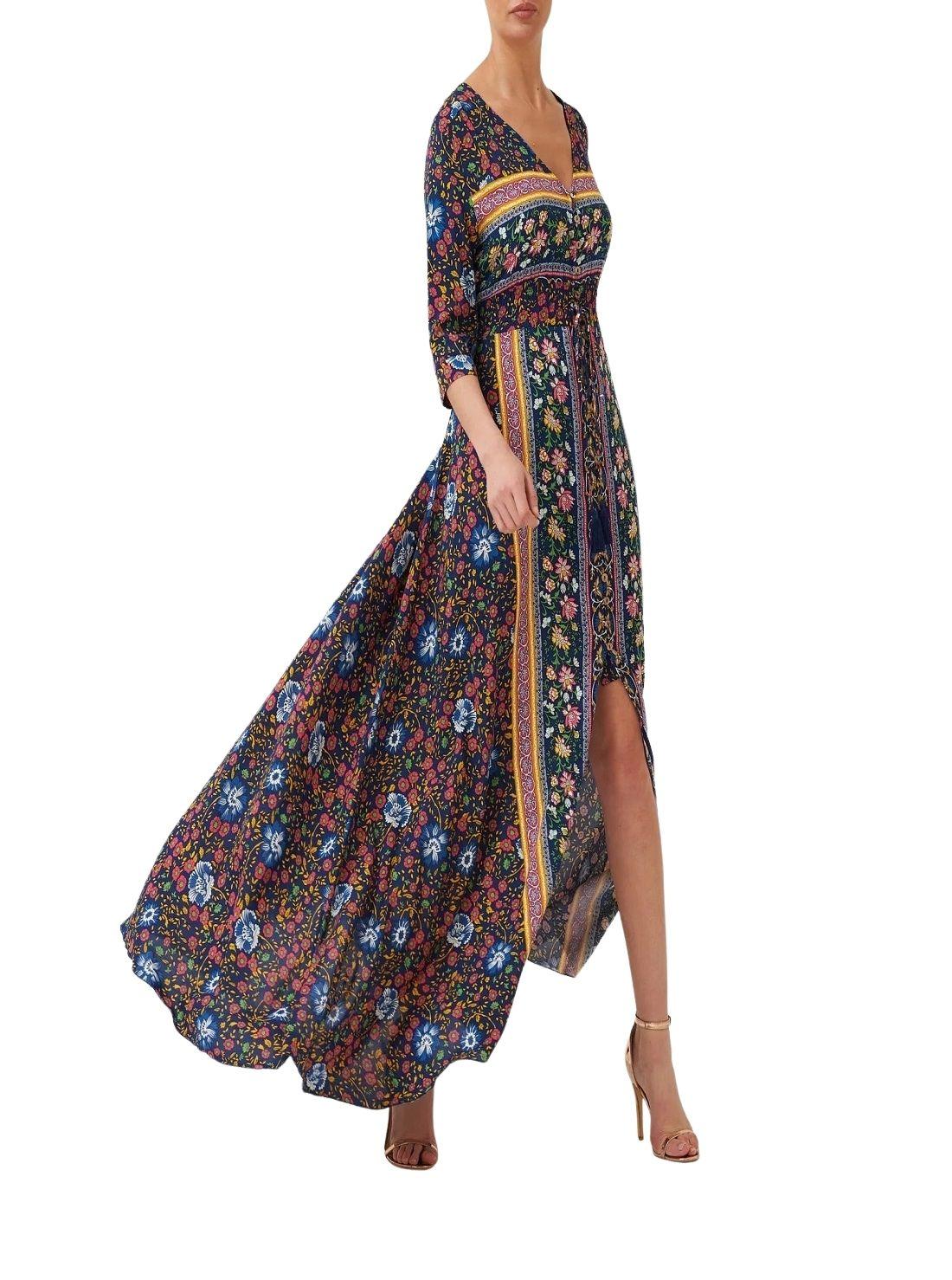 Wholesale Navy Floral Print Boho Dress (1)