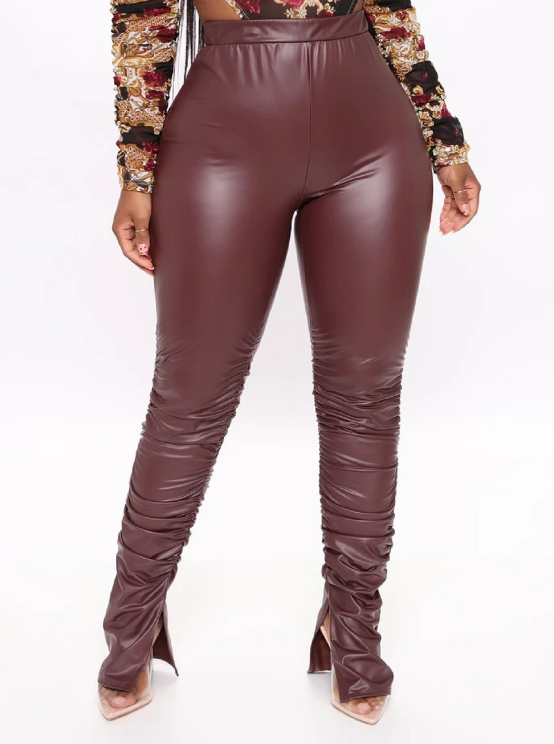 11 Wholesale Faux Leather Stacked Pants
