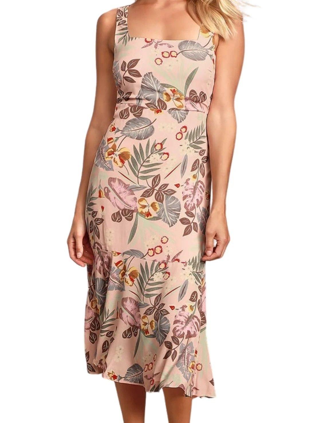 Pink Tropical Tie-Back Summer Midi Dress