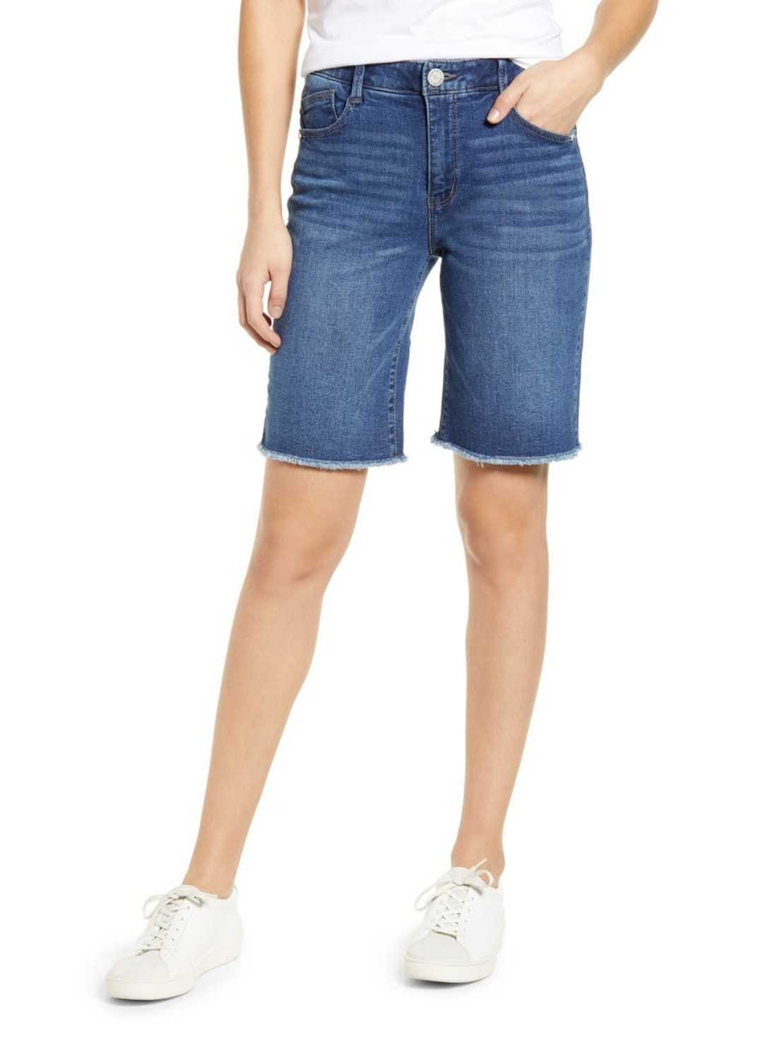 Retro high waist denim bermuda shorts