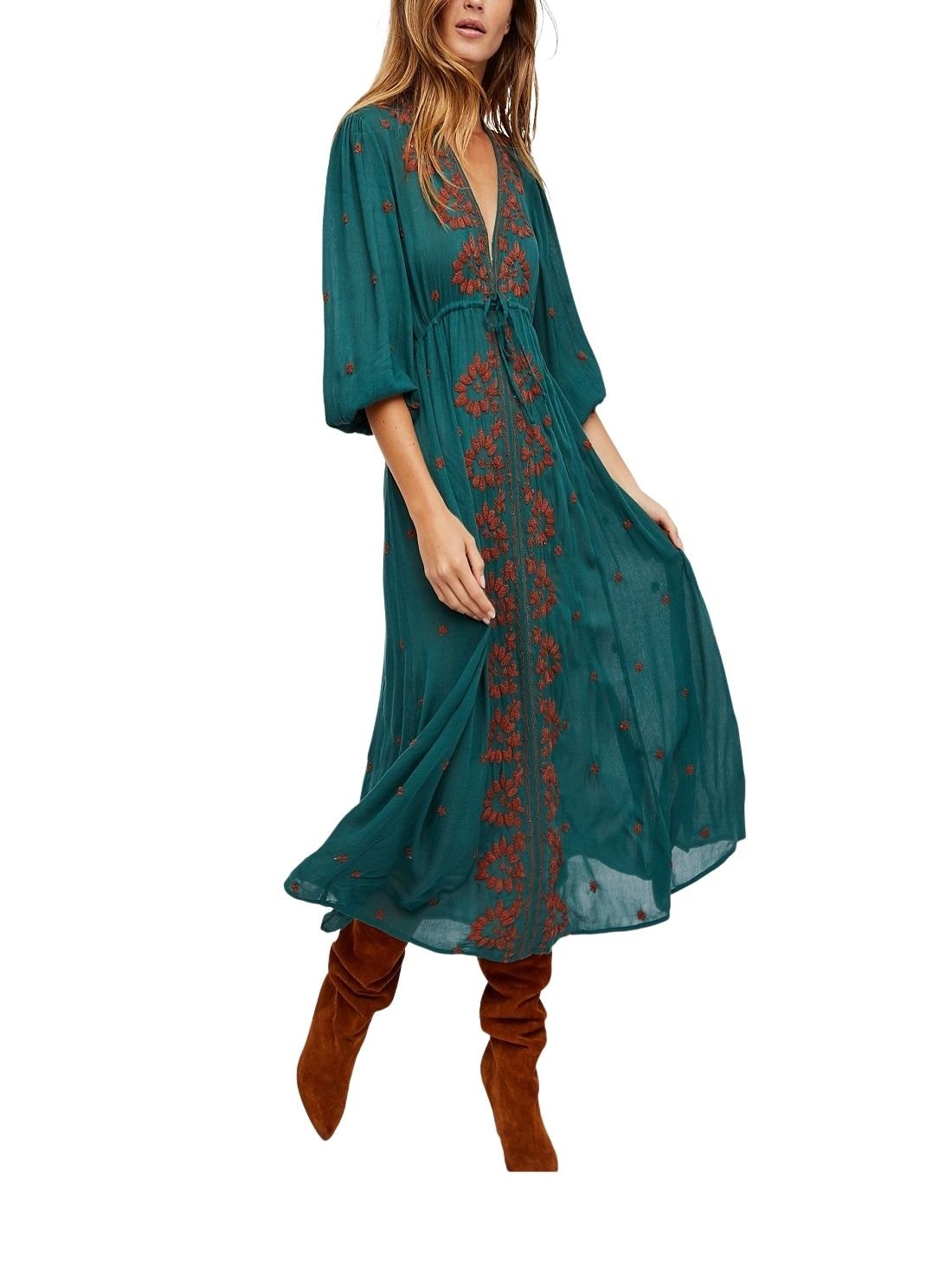 Wholesale Embroidered Fable Midi Boho Dress