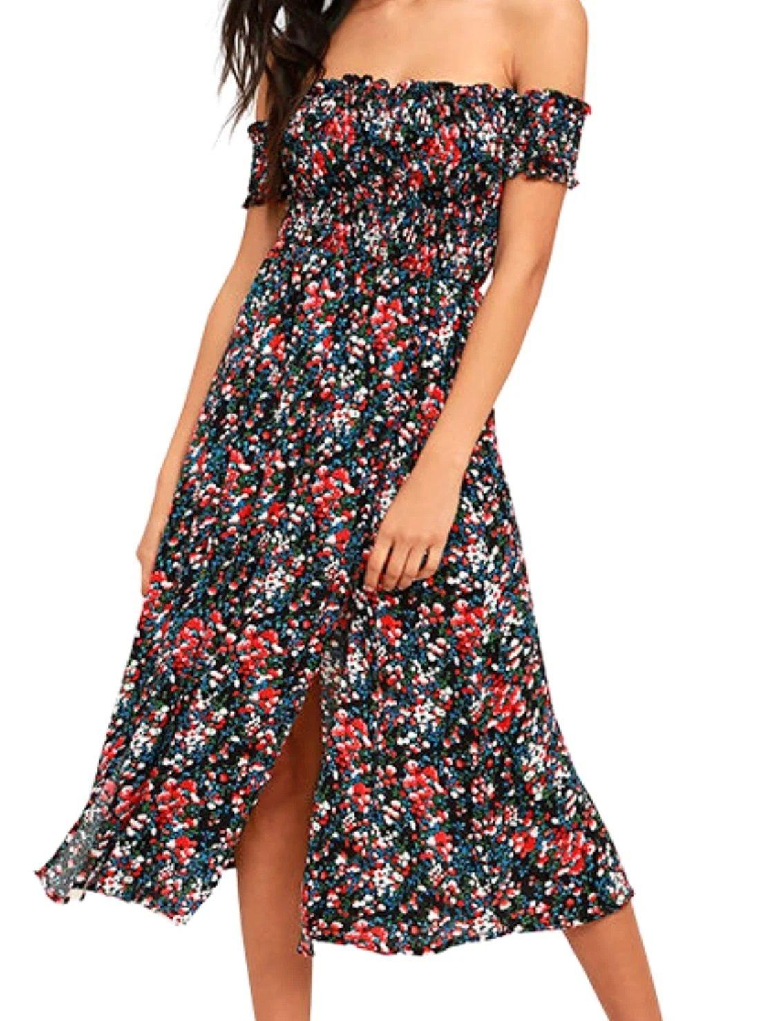 Floral Off-the-Shoulder Summer Dress
