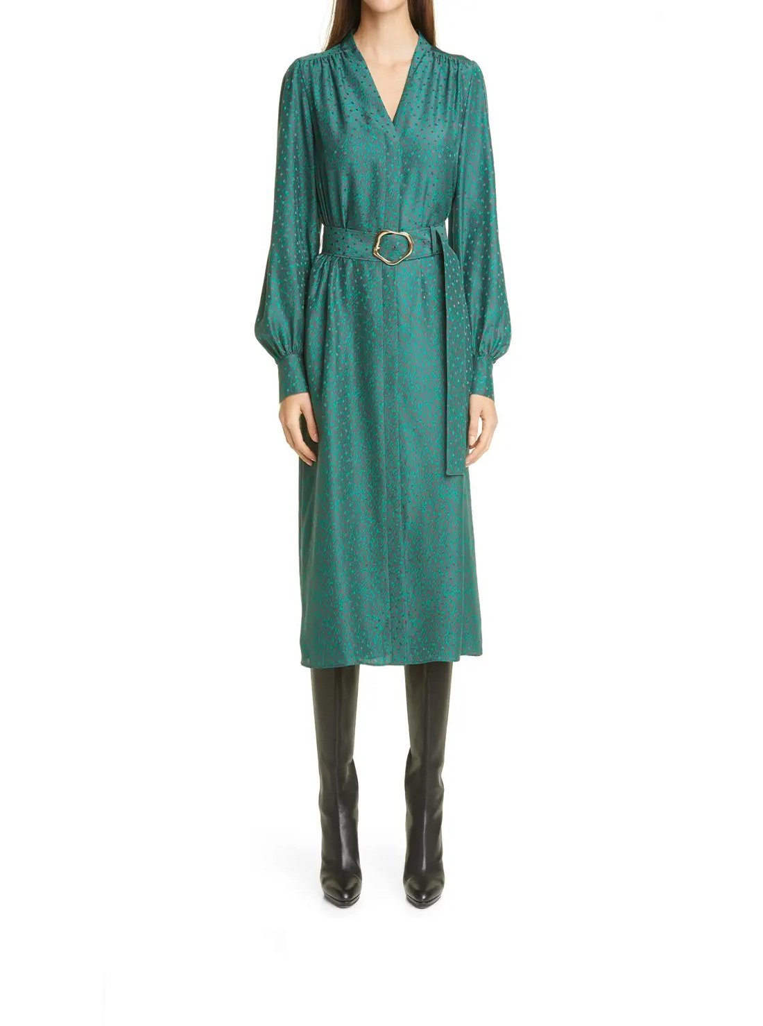 Belted Long Sleeve Silk Midi Dress