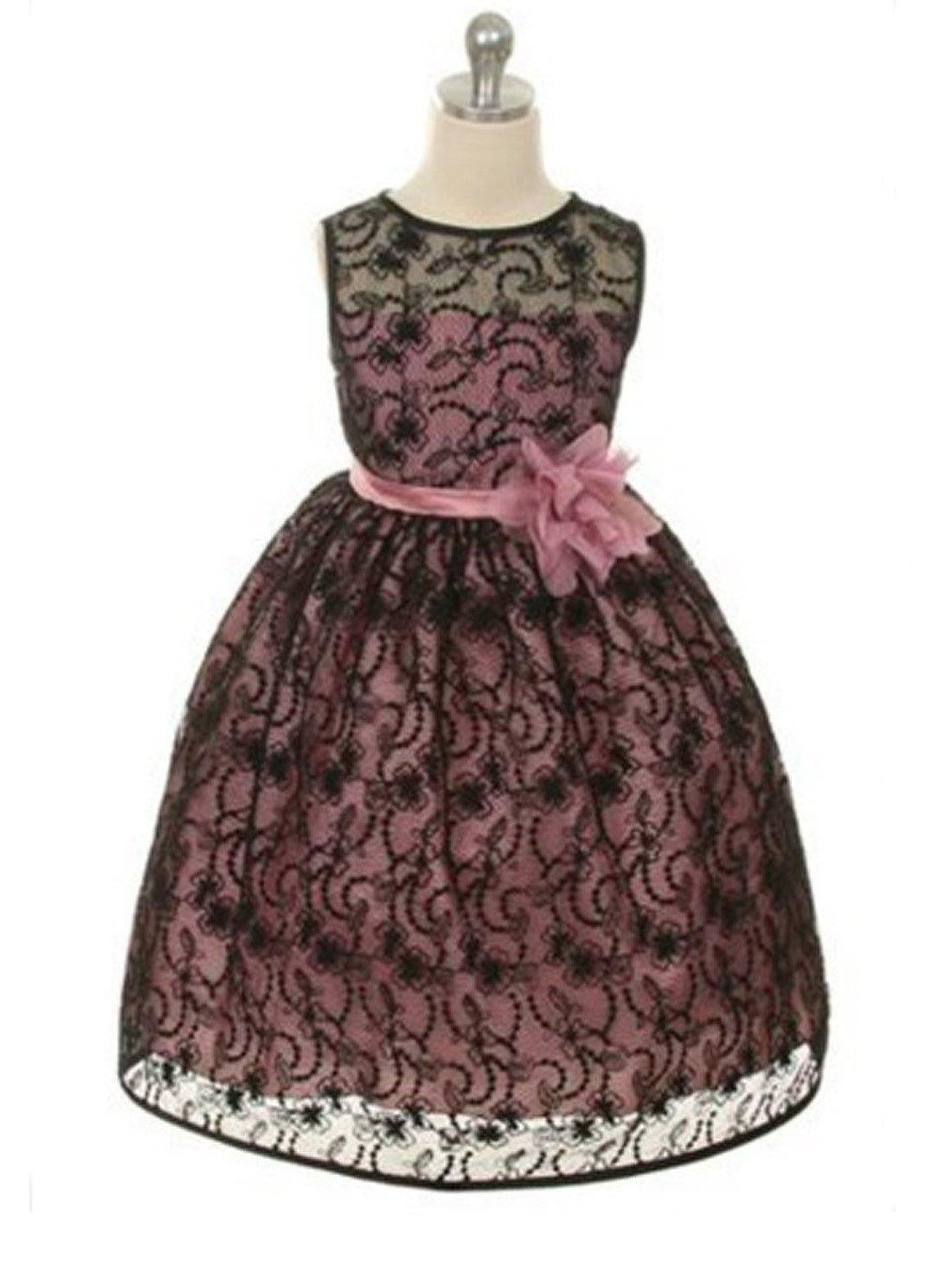 Flower Girl Dress Satin Lining and Floral Overlay Lace Dress Black, Mauve Party Dress Special Occasion Dress