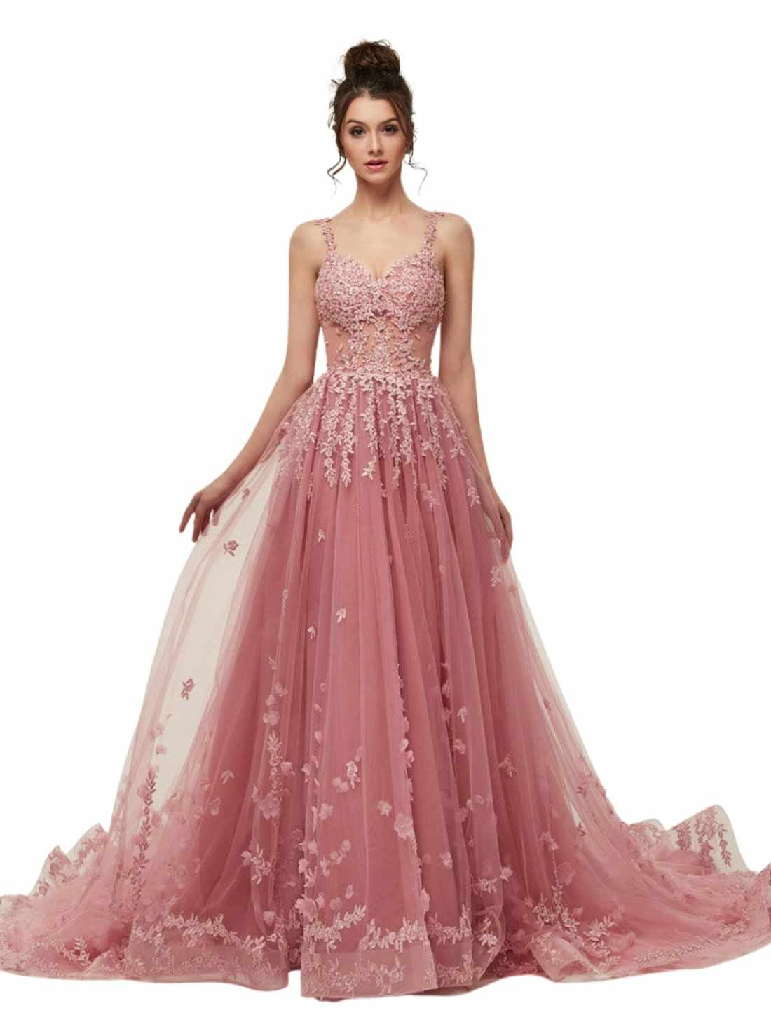 Sexy Prom Gown Spaggetti Shoulder Lace Evening Dresses