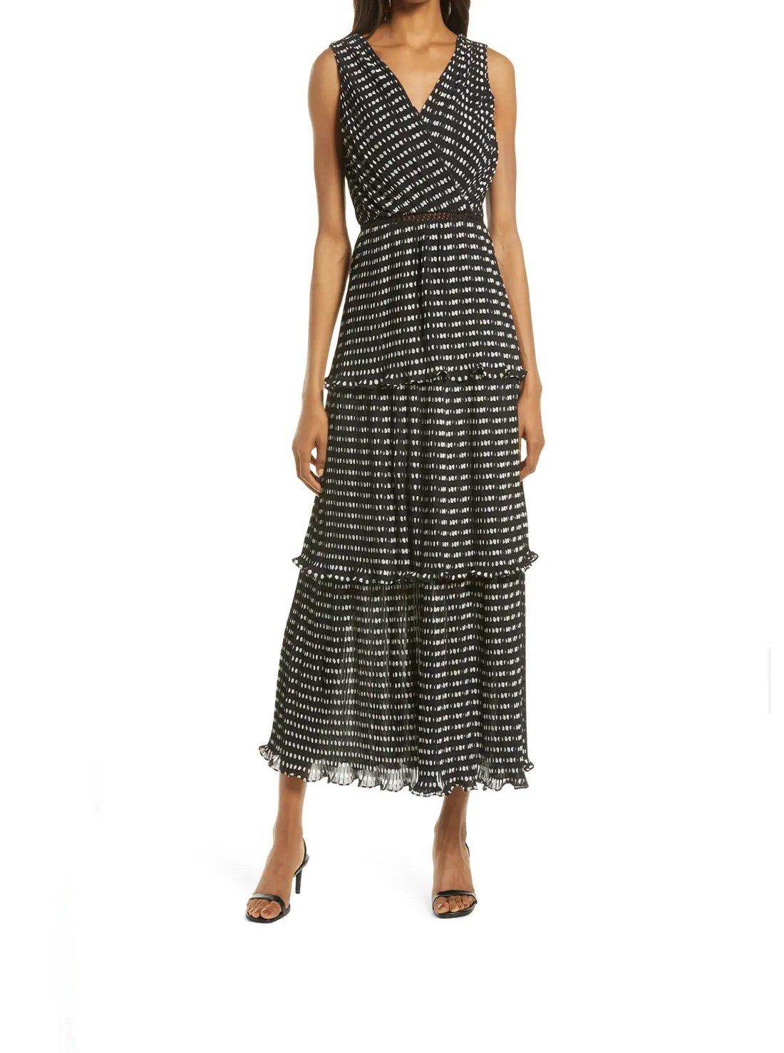 Sleeveless Pleated Tiered Dress