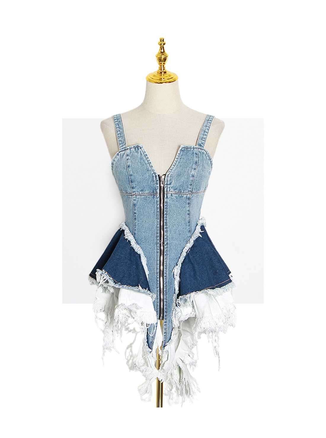 2021 Ripped Blue One-Piece Jean Skirt