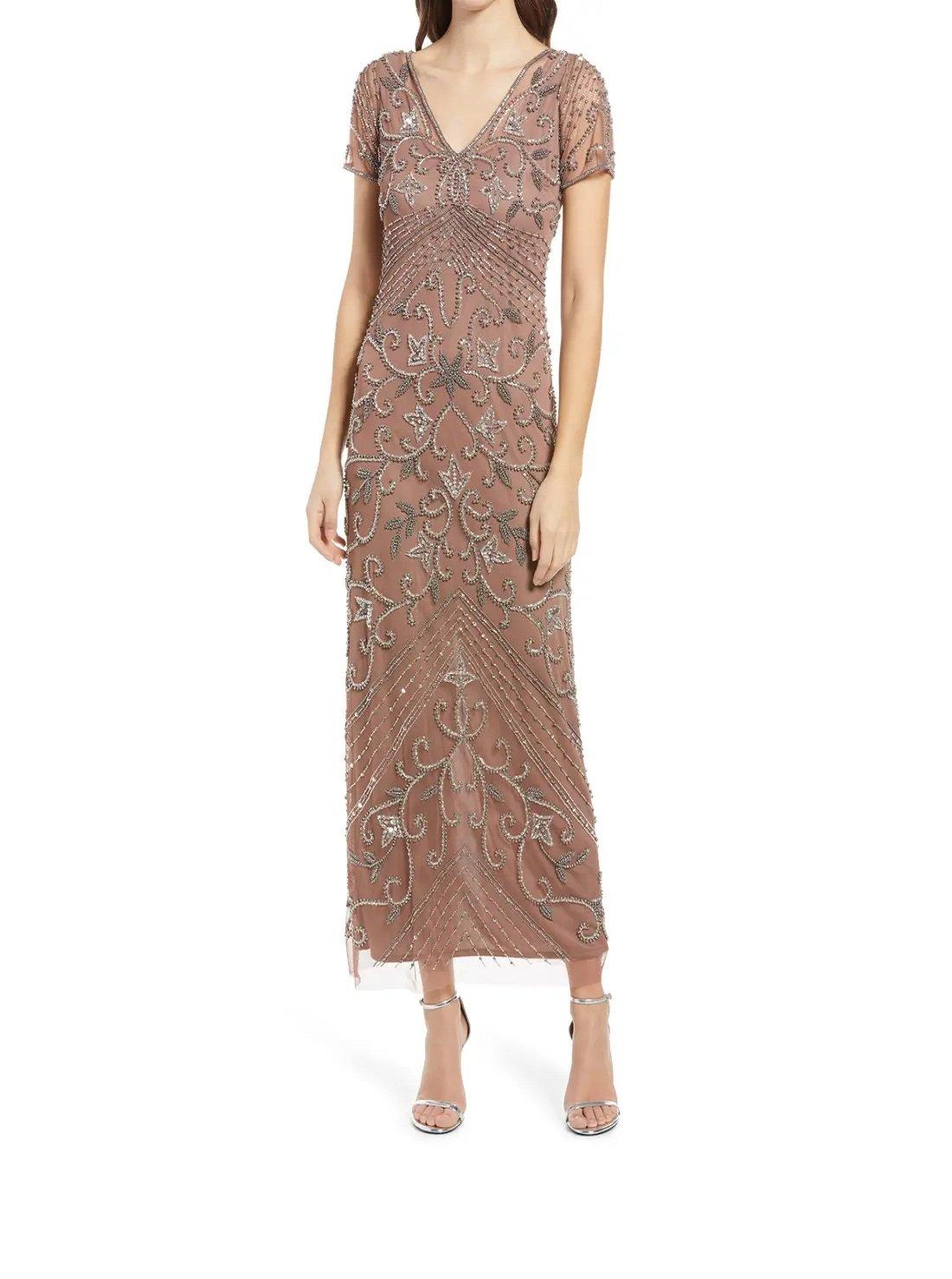 Beaded Mesh Column Gown