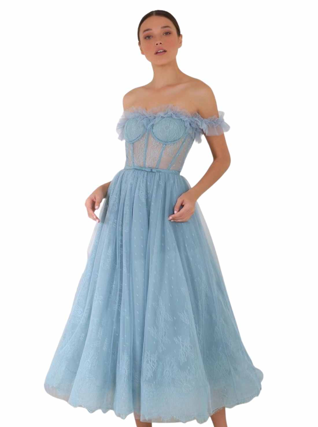 Blue Corset Dress with Lace and Tulle Details